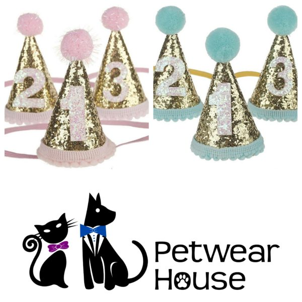 Glitter Age 1 2 Or 3 Birthday Party Hat For Your Pet Dog Cat O Petwear House